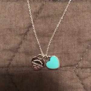 Tiffany & Co Mini Double Heart Tag Necklace